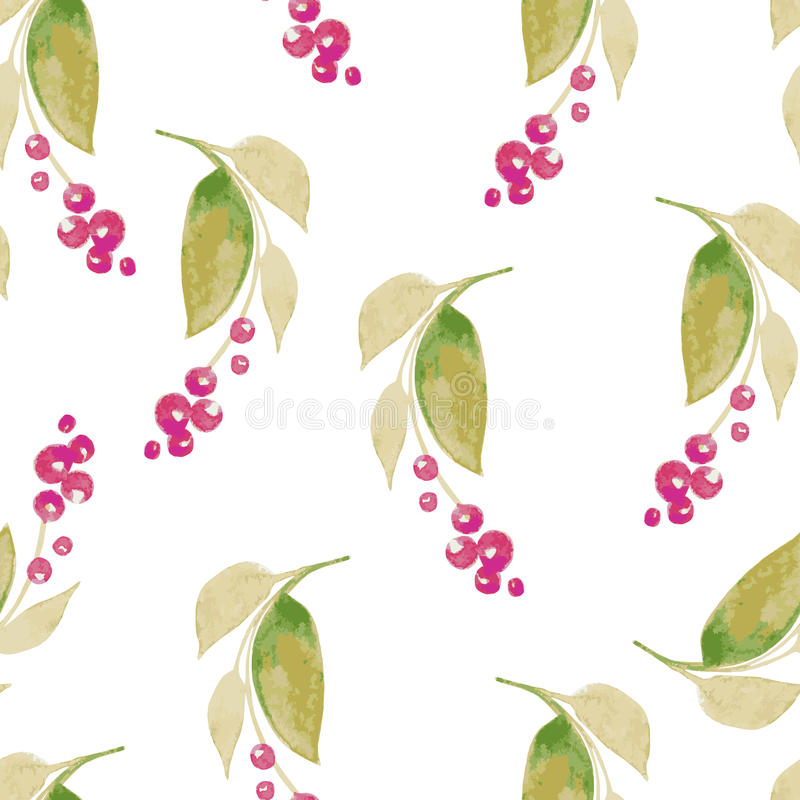 Seamless watercolor background consisting of dried flowers. Branches with thin leaves and berries vector illustration