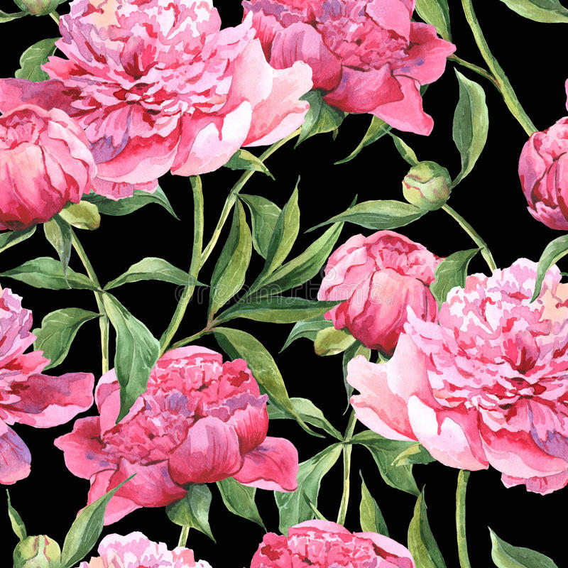 Seamless watercolor background with pink peonies stock illustration
