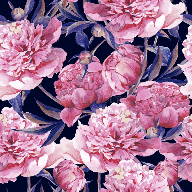 Seamless watercolor background with pink peonies vector illustration