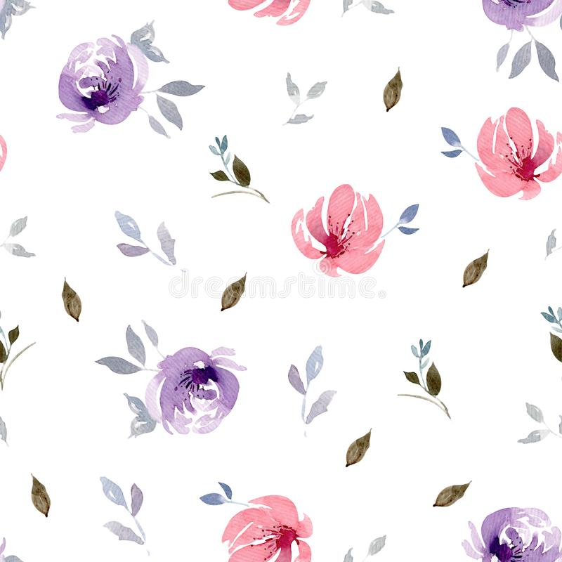 Seamless watercolor big purple and pink flower pattern with leaves. Isolated on a white background stock illustration