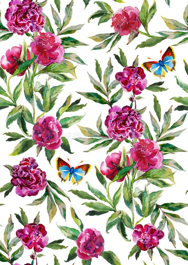Seamless watercolor peony pattern on white background with leaves, flowers and blue butterfly royalty free illustration