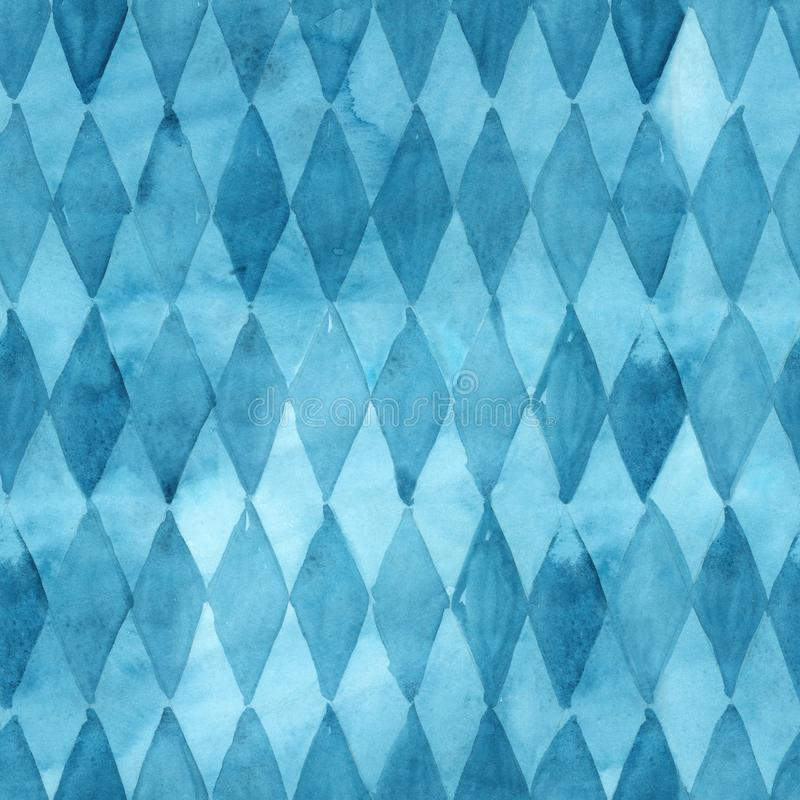 Seamless watercolor blue rhomb abstract pattern. stock illustration