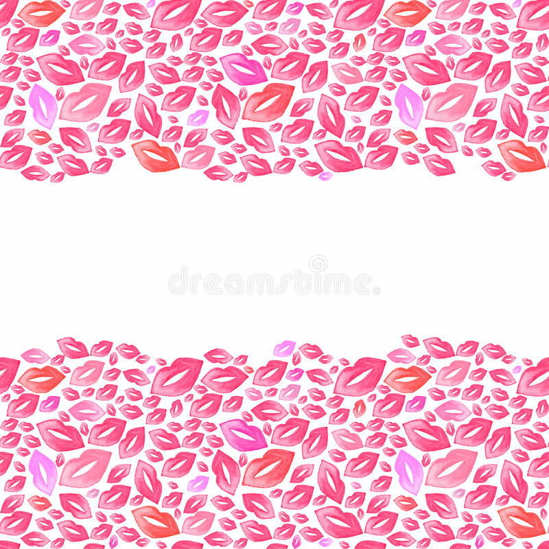 Seamless watercolor borders with lip stains on the. White background, aquarelle kisses. Vector illustration. Hand-drawn background. Original cosmetics royalty free illustration