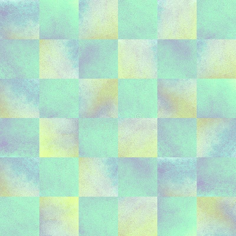 Seamless watercolor checkered chess background in pearl color royalty free stock photos