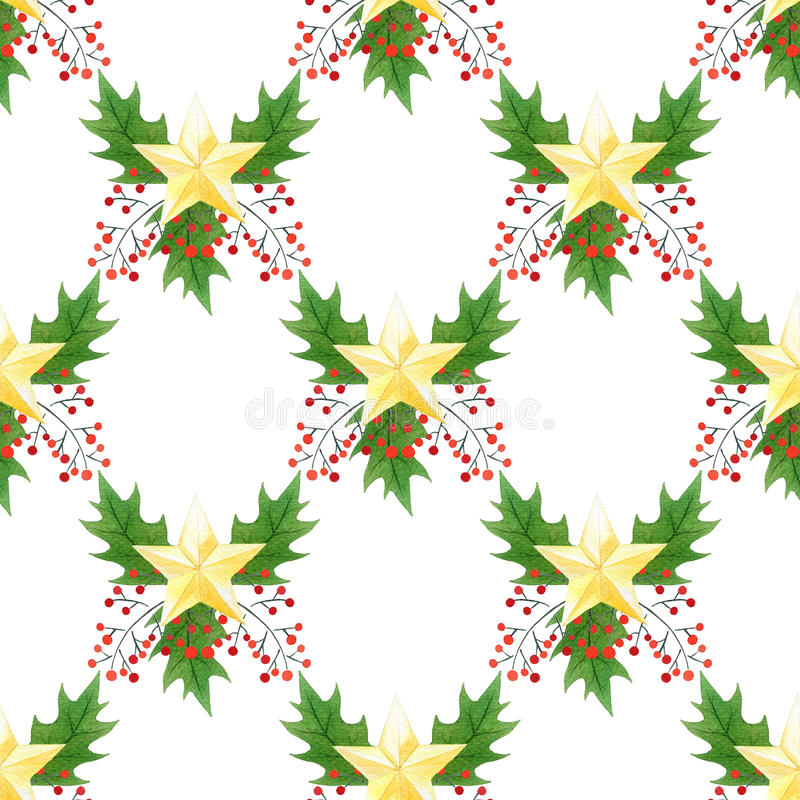 Seamless watercolor Christmas pattern with holly berries,leaves,golden stars. for wrapping paper, card or textile design royalty free illustration