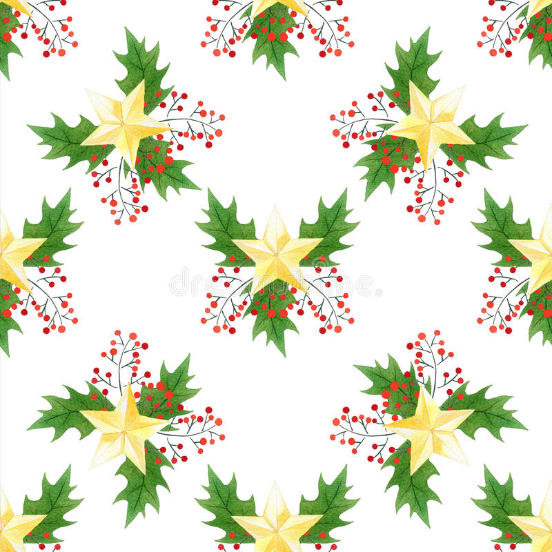 Seamless watercolor Christmas print with holly berries,leaves,golden stars. for wrapping paper, card or textile design. stock illustration