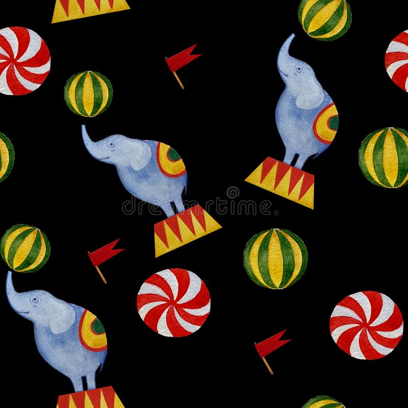 Seamless watercolor circus pattern: elephant, flags, balls vector illustration