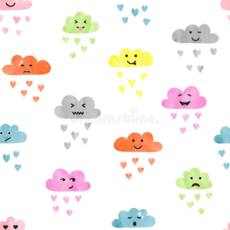 Seamless watercolor clouds pattern. Rain of colorful hearts. vector illustration