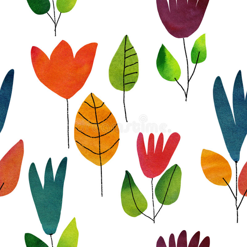 Seamless watercolor draw flowers background stock images