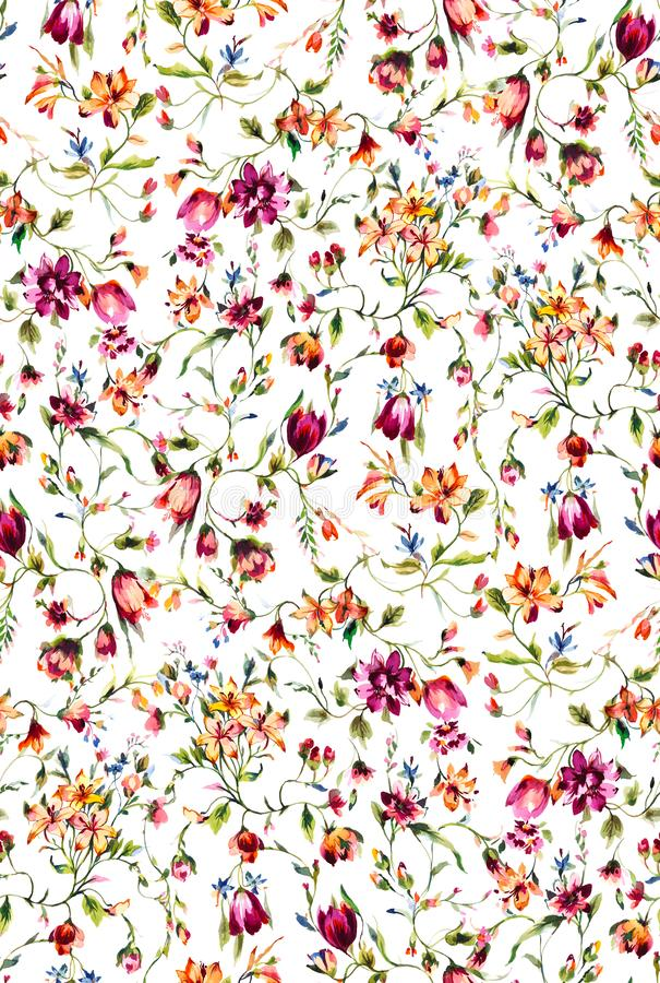 Seamless watercolor floral pattern with colorful flowers and leaves. The elegant template for fashion prints. Modern floral on whi stock illustration