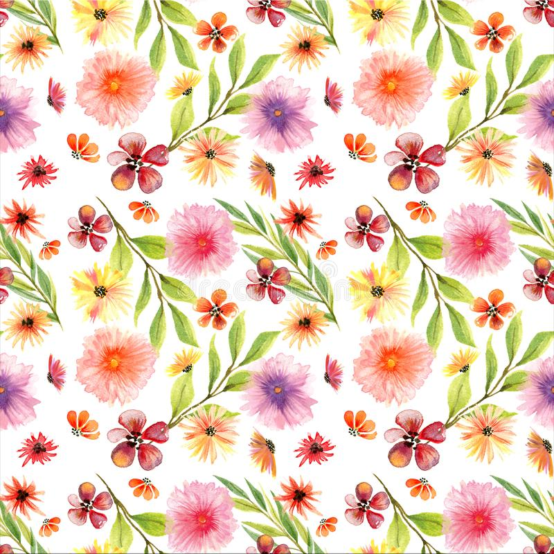 Seamless Floral Watercolor Pattern. With Hollyhocks, Daisies and green leaves in bright colors on white background vector illustration