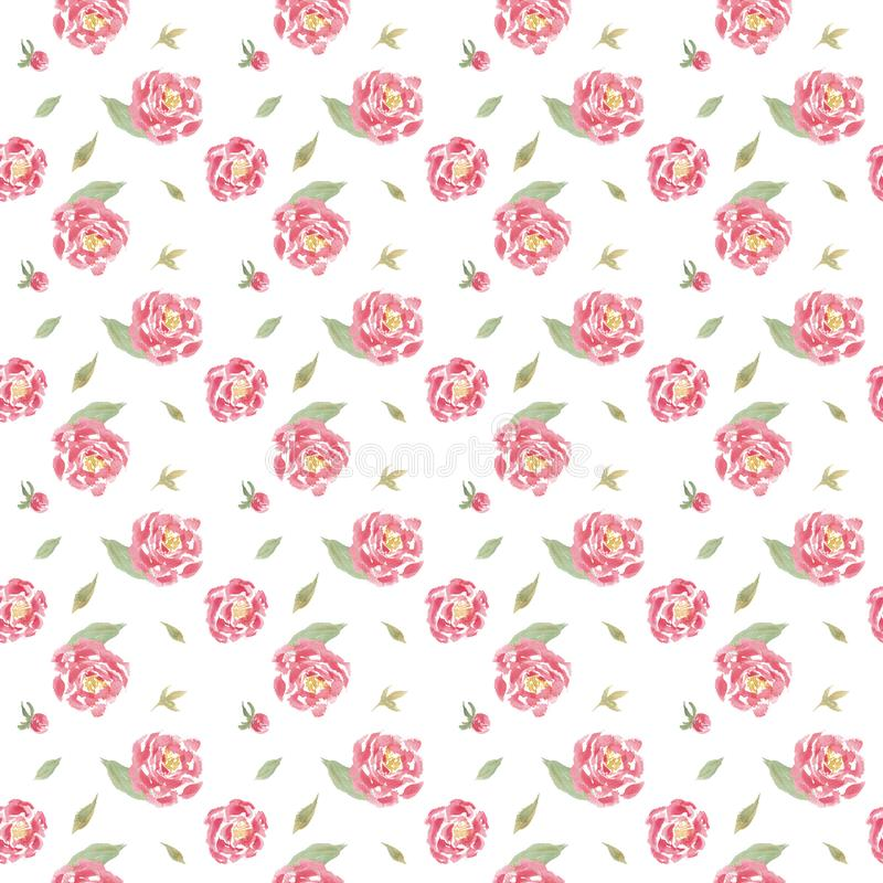 Seamless watercolor floral pattern with pink peonies vector illustration