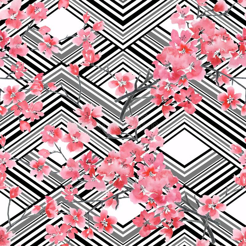 Seamless watercolor floral pattern.Pink Sakura flowers on black and white stripes. royalty free illustration