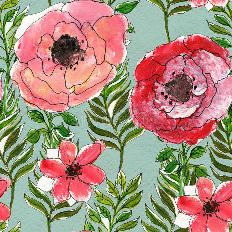Seamless watercolor floral pattern stock illustration