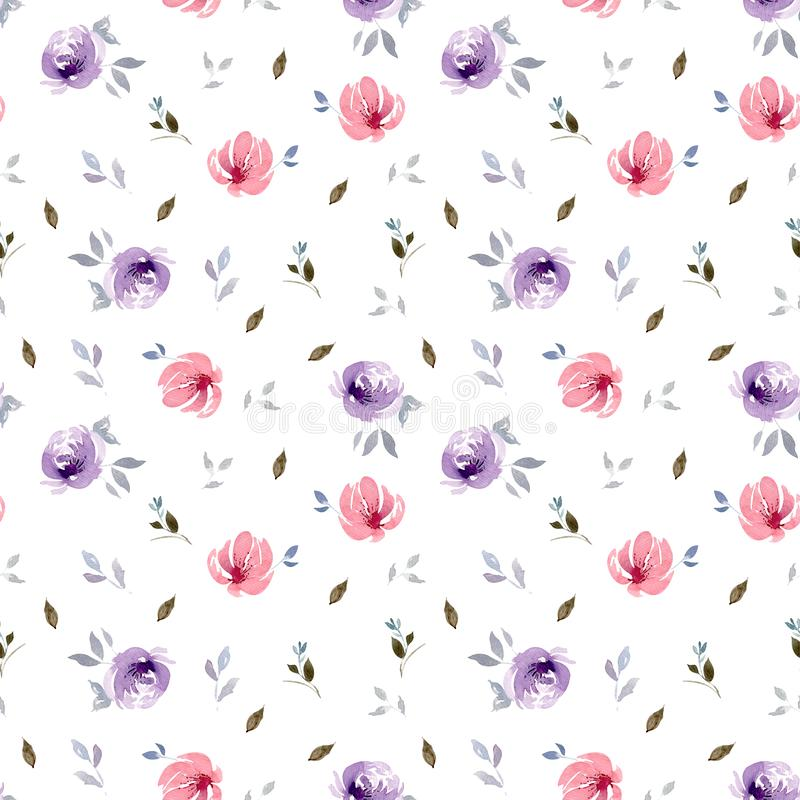 Seamless watercolor flower pattern with leaves. Isolated on a white background vector illustration