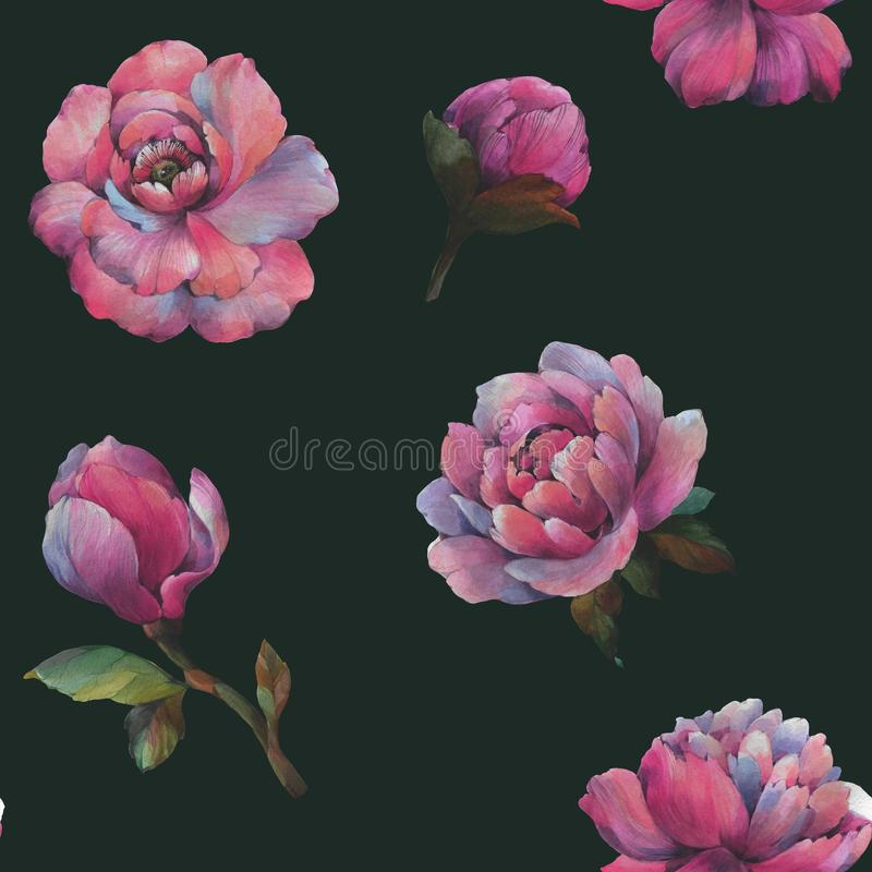 The composition of the flowers of peony. Seamless watercolor pattern of flowers. Botanical pattern. Watercolor peonies. vector illustration
