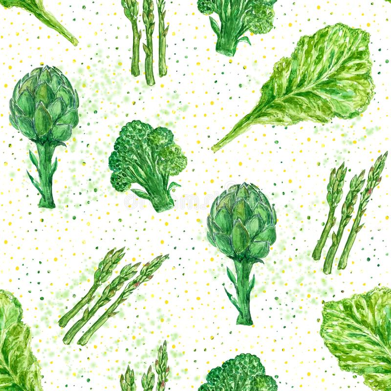 Seamless watercolor fresh greens pattern with broccoli and artichoke. Seamless watercolor fresh greens pattern with broccoli, salad and artichoke stock illustration