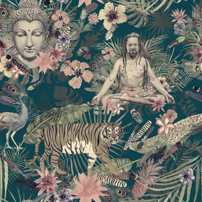 Seamless watercolor hand drawn pattern with buddha head, yogi, peacock, feathers, flowers, leaves. Seamless watercolor vintage hand drawn pattern with buddha royalty free illustration