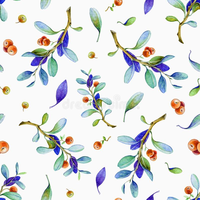 Seamless watercolor hand painted cowberry pattern with realistic red berries and nature elements. Lingonberry on white background vector illustration