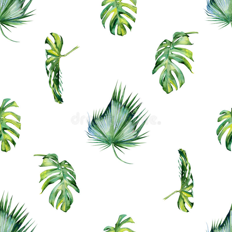 Seamless watercolor illustration of tropical leaves, dense jungle. stock illustration