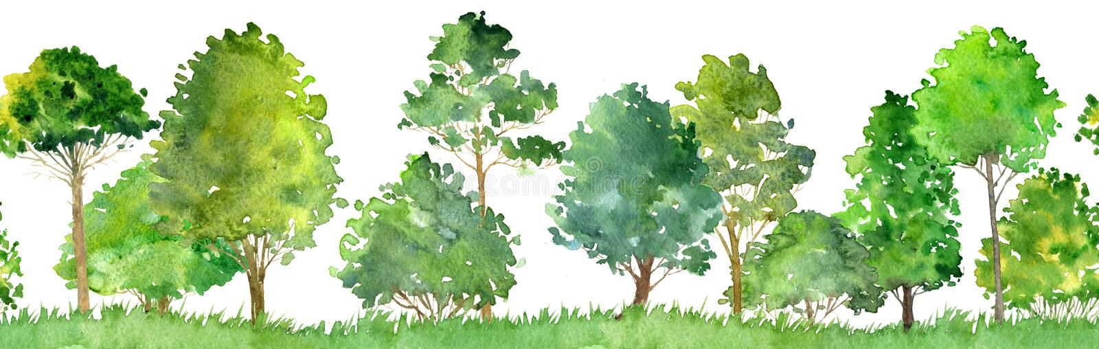 Seamless watercolor landscape with trees vector illustration