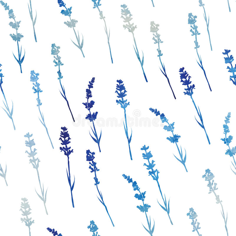Seamless watercolor lavender pattern stock illustration