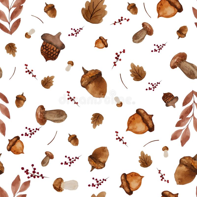 Seamless watercolor paint background of dry leaves, oak, mushroom and berry. Autumn seasonal background royalty free stock photos