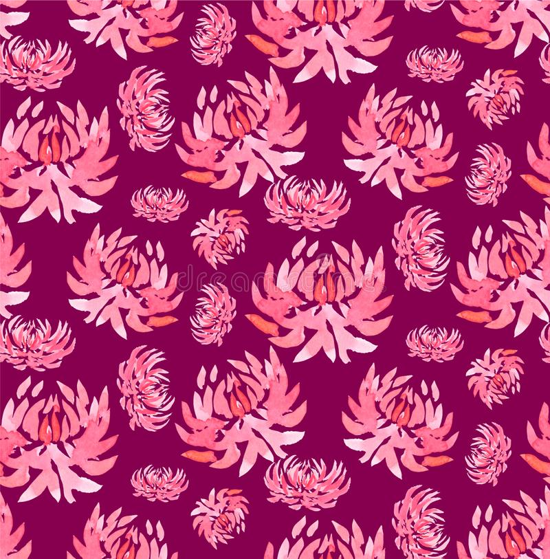 Seamless watercolor pattern with abstract flower pink on fuschia background. Seamless watercolor pattern with abstract flower pink chrysanthemum dahlia on stock illustration