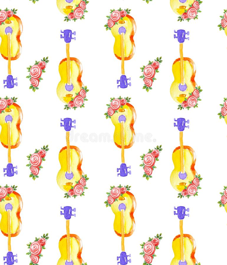 Seamless watercolor pattern acoustic classic wooden yellow guitar and flowers of three roses with leaves isolated on stock illustration