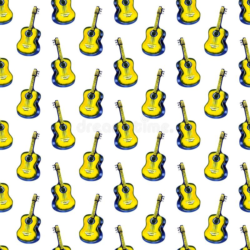 Seamless watercolor pattern acoustic classic wooden yellow guitar for textiles, wallpaper, wrappers, fabric. stock illustration