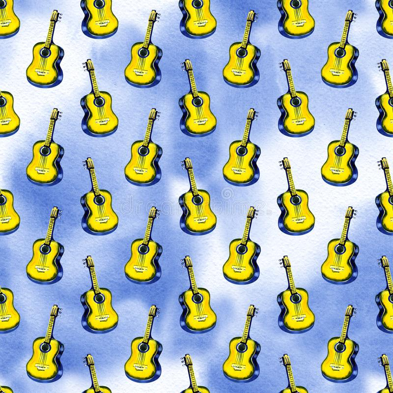 Seamless watercolor pattern acoustic classic wooden yellow guitar for textiles, wallpaper, wrappers, fabric. royalty free illustration