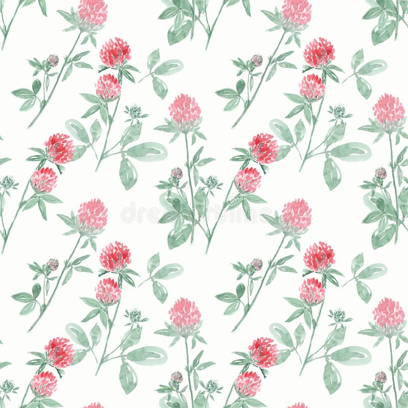 Seamless watercolor pattern with branches and flowers of clover on white background. stock illustration