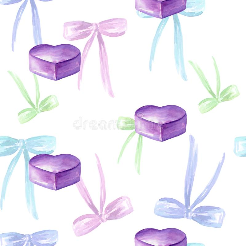 Seamless watercolor pattern with colored bow, tags, gift box, violet heart. For card making, invitations, stationery, party tags, blog design, logos, digital stock illustration
