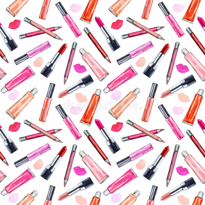 Seamless watercolor pattern with colored lipstick and gloss lip. Hand drawn cosmetics background. Fashion glamour pattern. Illustration for your design vector illustration