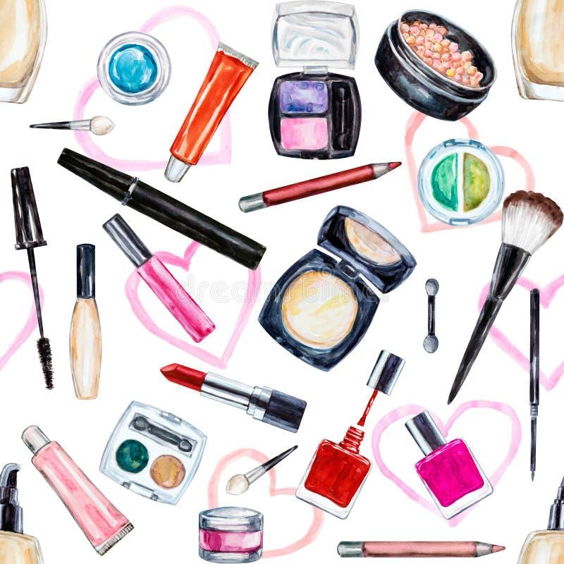 Seamless watercolor pattern with cosmetic, beauty items. Mascara, lipstick, foundation cream, brushes, eye shadow, nail polish, powder, lip gloss. Hand drawn stock illustration