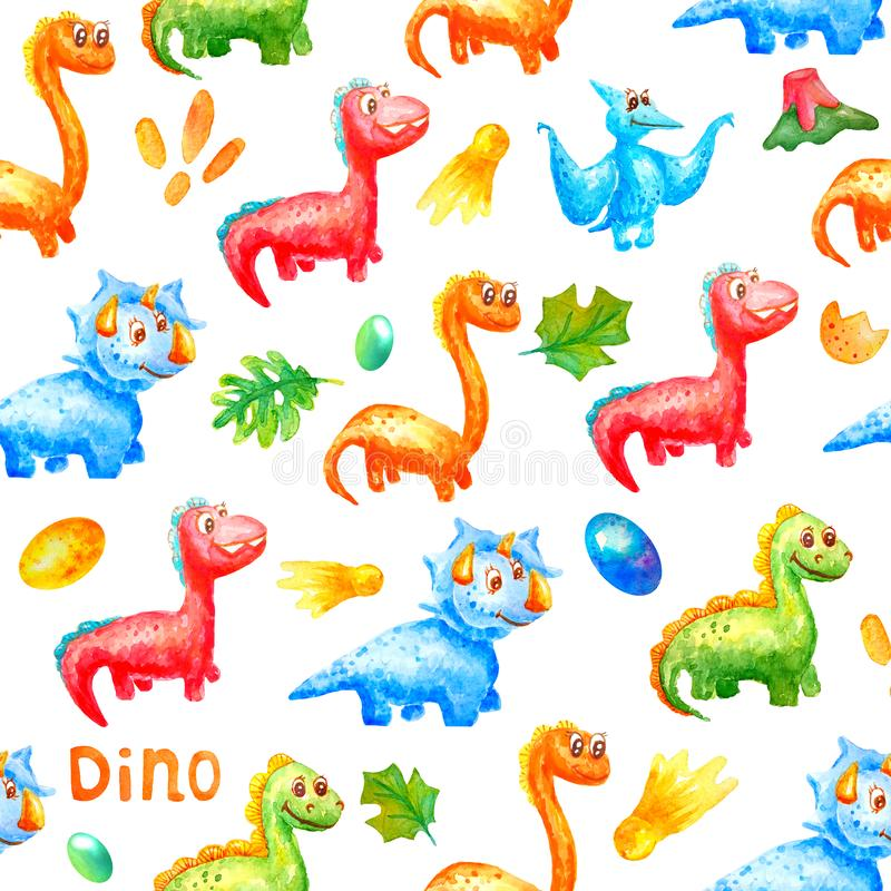 Seamless watercolor pattern. Cute dinosaurs are smiling and looking in one direction against a background of colorful eggs, a royalty free illustration