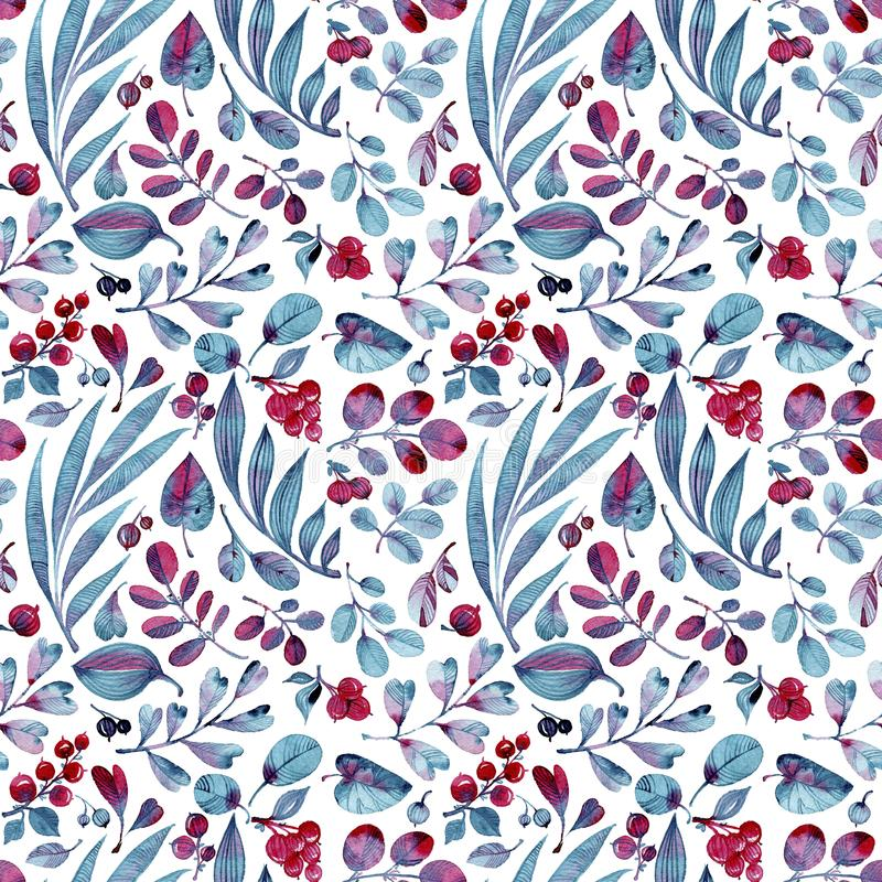 Seamless watercolor pattern. Differend blue and pink leaves and berries on white background. stock illustration