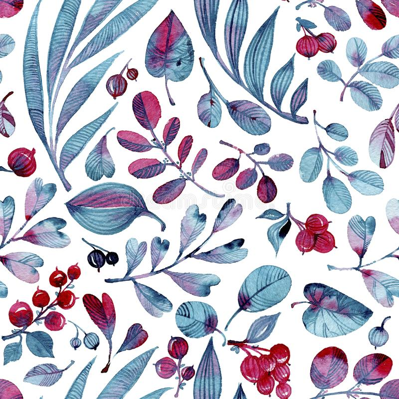 Seamless watercolor pattern. Differend blue and pink leaves and berries on white background. royalty free illustration