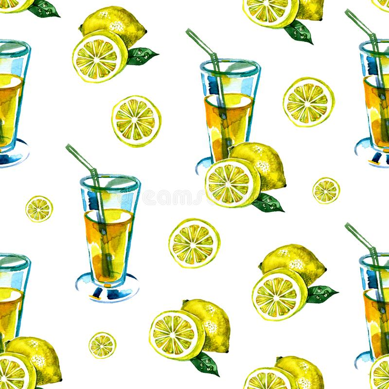 Seamless watercolor pattern with a drink, cocktail with lemon, ice, mojito, smoothies. Fruit lemon, mint leaf. Vintage vector illustration