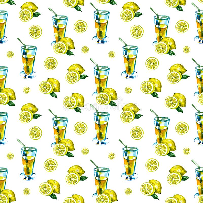 Seamless watercolor pattern with a drink, cocktail with lemon, ice, mojito, smoothies. Fruit lemon, mint leaf. Vintage royalty free stock photo