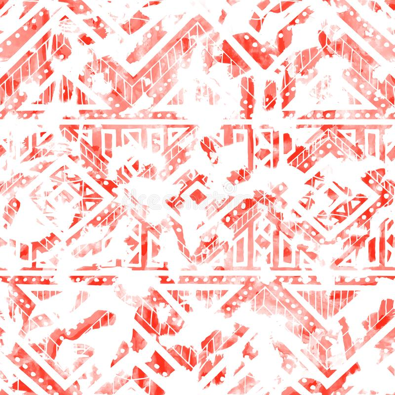Seamless watercolor pattern. Ethnic and tribal motifs. Color living coral and white. Vector illustration royalty free illustration