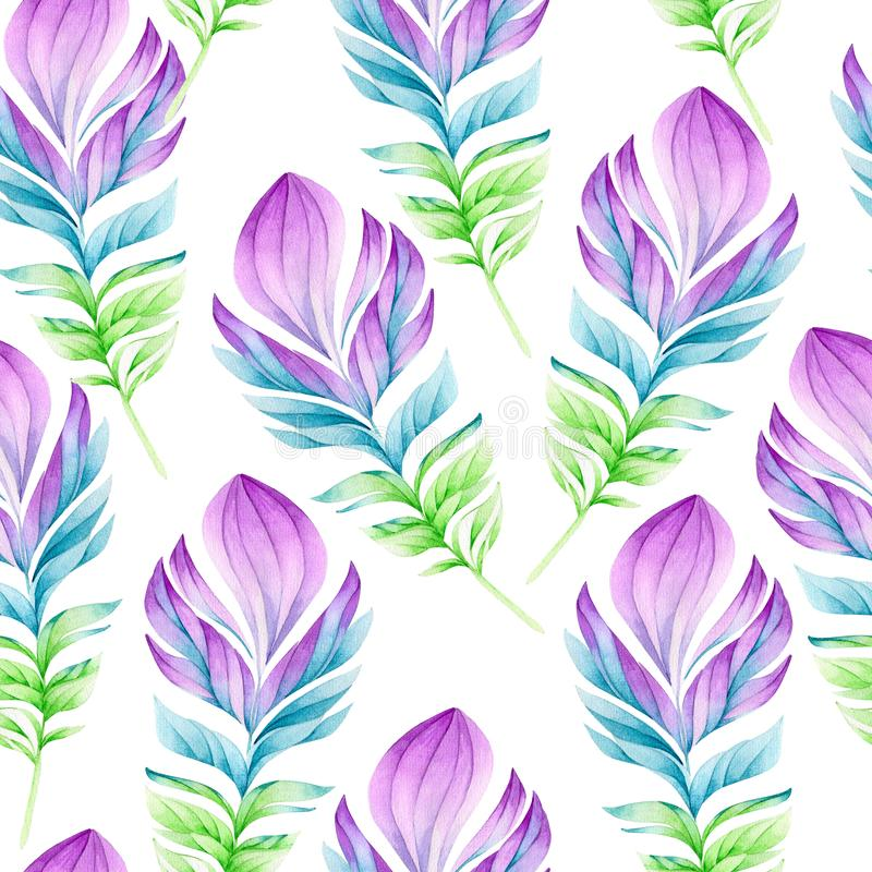Seamless watercolor pattern of feathers of birds stock illustration