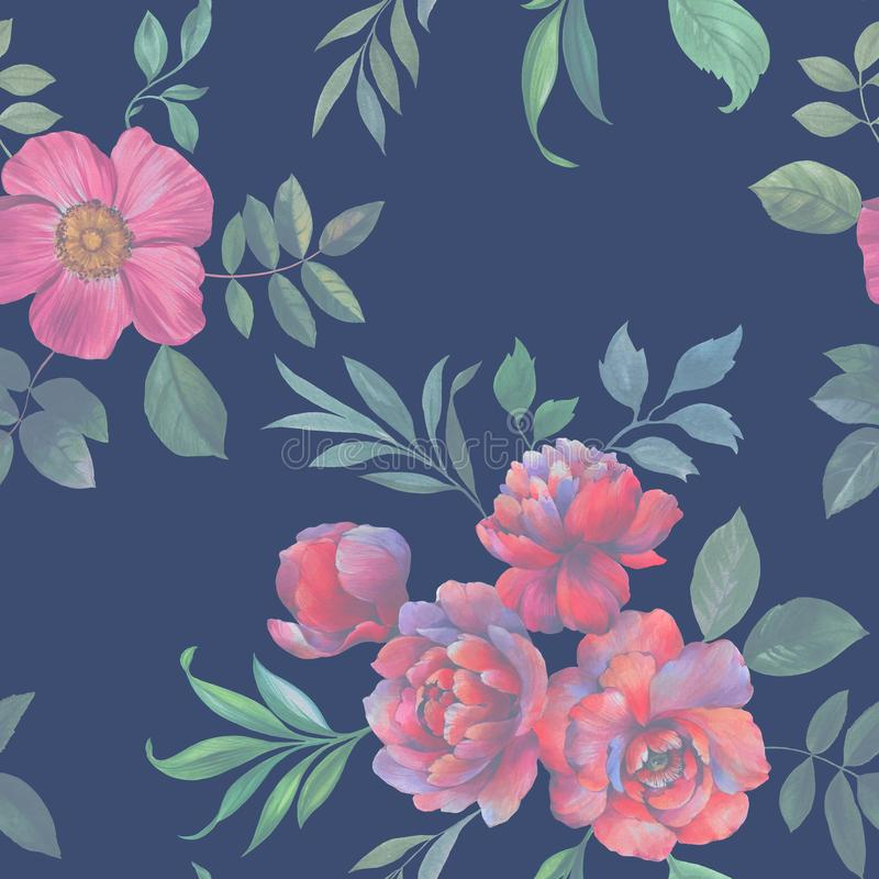 Seamless watercolor pattern of flowers and leaves. Flower arrangement for design. royalty free illustration