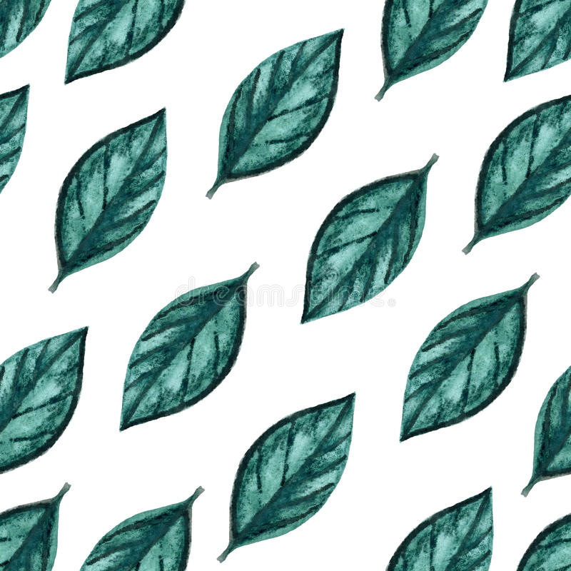 Seamless Watercolor Pattern. Green Leaves On White Background royalty free illustration
