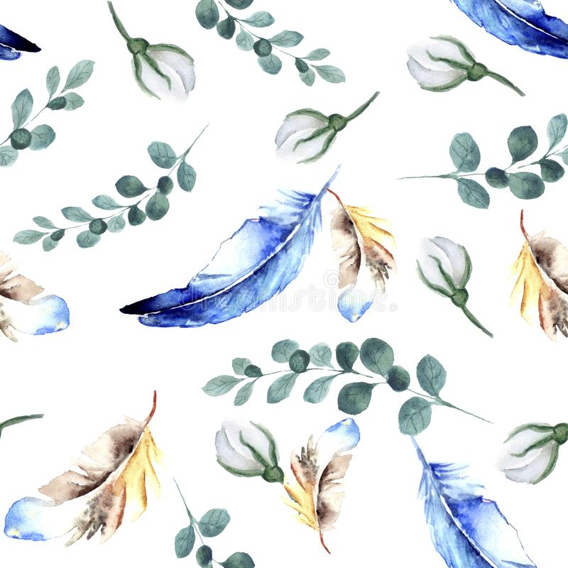 Seamless watercolor pattern of green twigs and blue and yellow feathers and white buds of rosehip stock image