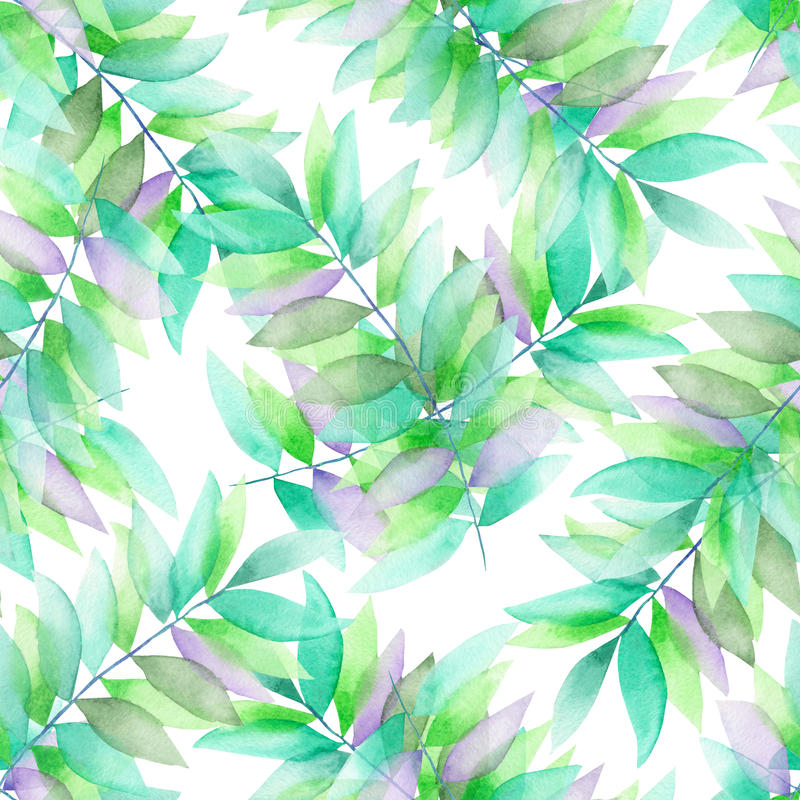 A seamless watercolor pattern with the green and violet leaves on the branches royalty free illustration