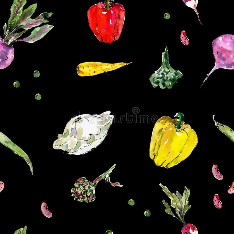 Seamless watercolor pattern with Hand drawn vegetables. Beetroot, radish, carrot, beans, peas, pod, artichoke, chili vector illustration