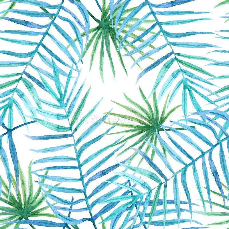 Seamless watercolor pattern of hand painted bright tropical leaves royalty free illustration