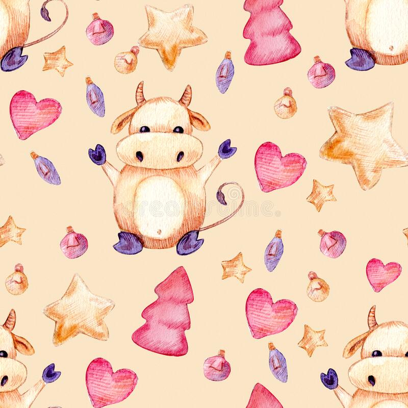 Seamless watercolor pattern, happy new year 2021 and christmas background with tree, bull, star, heart. Bull royalty free illustration