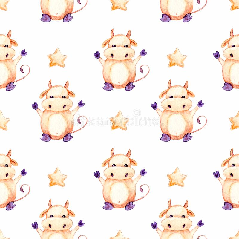 Seamless watercolor pattern, happy new year 2021 and christmas background with tree, bull, star, isolated on white background. Seamless watercolor pattern, happy stock illustration